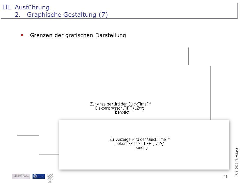 IRIS_2008_JB_0.1.ppt 20 III.Ausführung 2.Graphische Gestaltung (6) Relevanzmarkierung mit grafischen Mitteln (Nomenklatur) Denkbares Konzept: Funktion