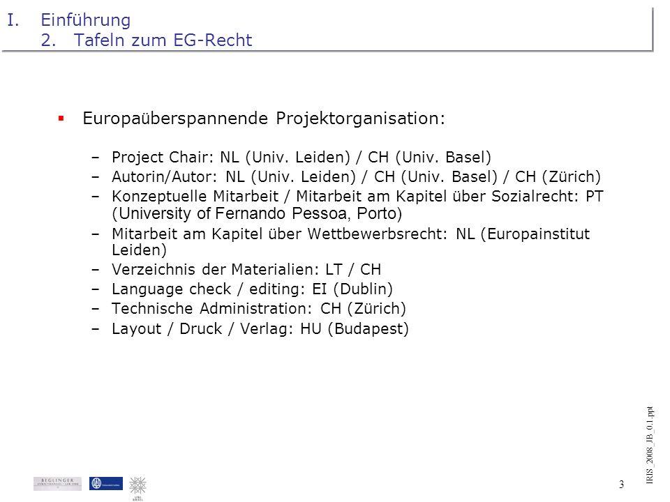 IRIS_2008_JB_0.1.ppt 2 I.Einführung 2.Tafeln zum EG-Recht Tafeln zum EG-Recht: Erster konkreter Anwendungsfall der Rechtsvisualisierung im Rahmen des