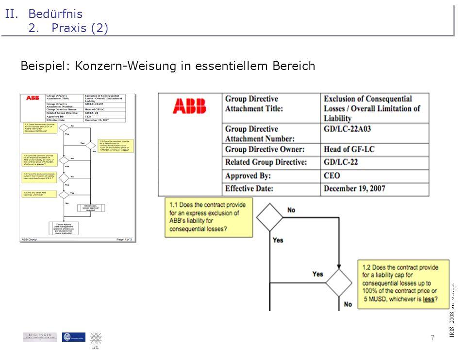 IRIS_2008_JB_0.1.ppt 6 II.Bedürfnis 2.Praxis (1) Langjährige Praxiserfahrung: Bedürfnis nach sprachferner Darstellung juristischer Inhalte in Kursen,