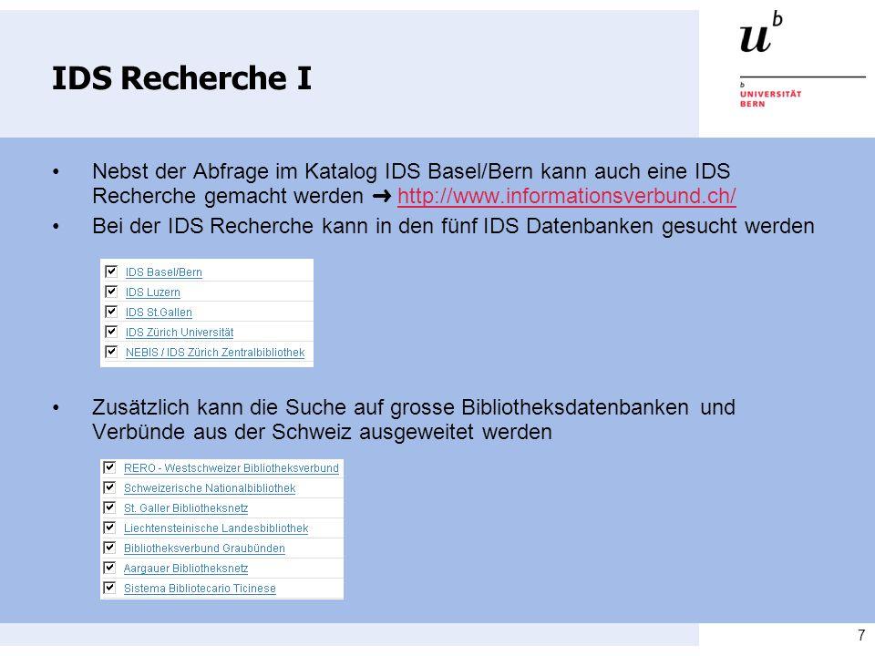 8 IDS Recherche II Es kann in allen Feldern oder in einem spezifischem Feld gesucht werden Mehrere Suchbegriffe können mit den Booleschen Operatoren und, oder und nicht verknüpft werden Mit einem Klick auf Suchen wird die Abfrage gestartet