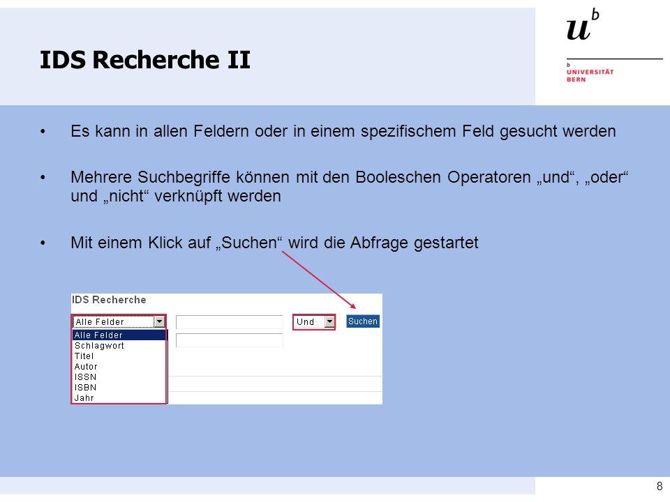 9 IDS Recherche III Beispiel: Suche nach Literatur zum Thema Strafvollzug Schweiz Es kann mit dem Titel, dem Schlagwort oder auch über alle Felder gesucht werden Nun müssen die Kataloge ausgewählt werden, in denen gesucht werden soll und die Suche kann gestartet werden