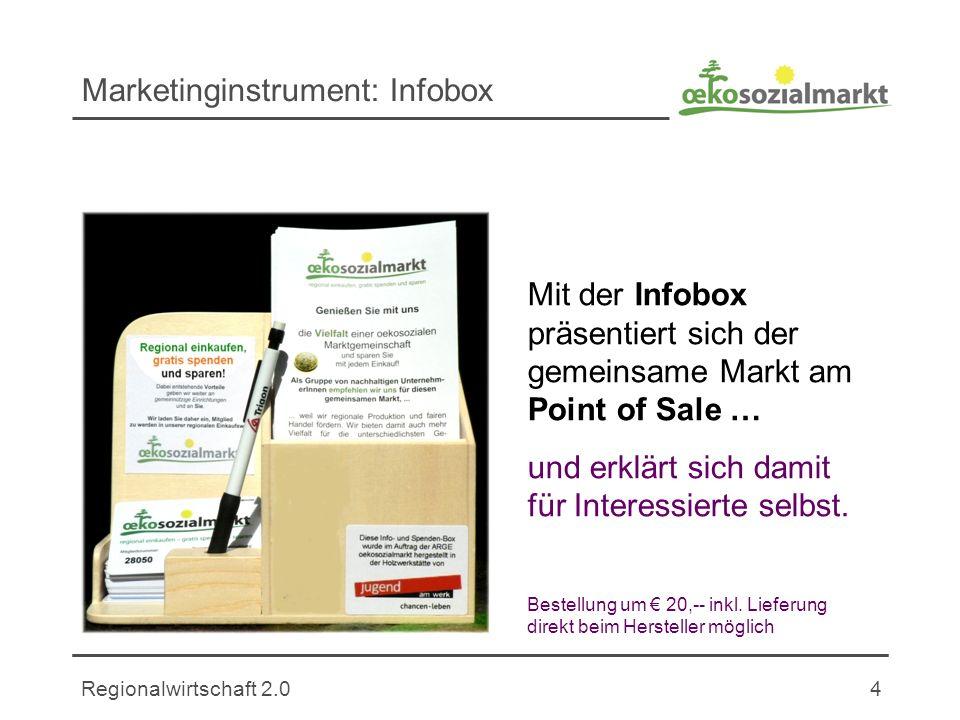 Regionalwirtschaft 2.04 Marketinginstrument: Infobox Mit der Infobox präsentiert sich der gemeinsame Markt am Point of Sale … und erklärt sich damit für Interessierte selbst.