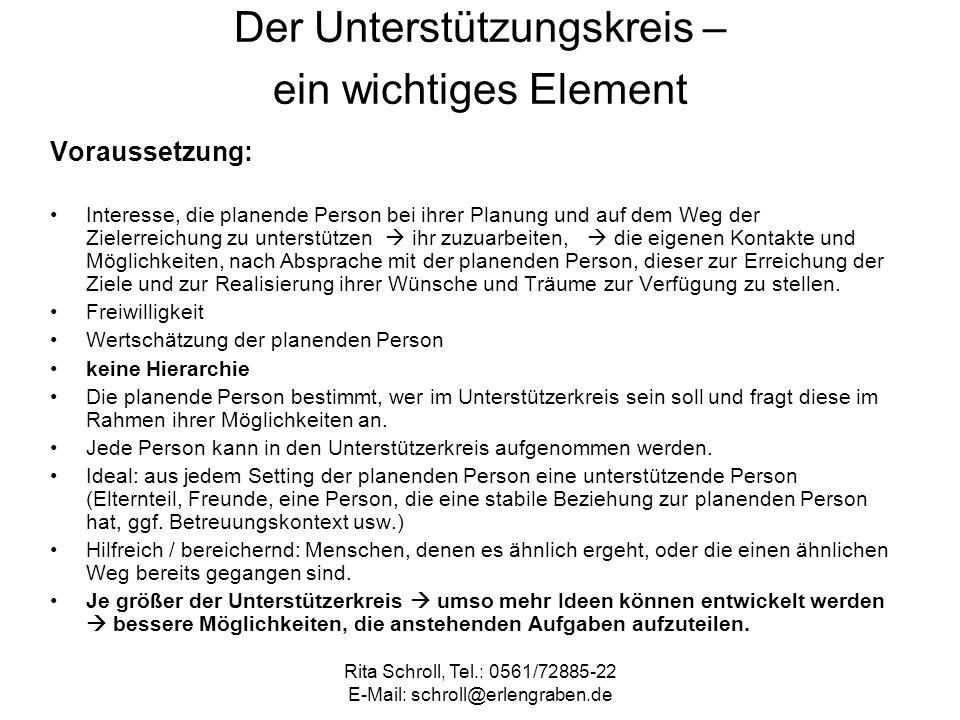 Rita Schroll, Tel.: 0561/72885-22 E-Mail: schroll@erlengraben.de Der Unterstützungskreis – ein wichtiges Element Voraussetzung: Interesse, die planend
