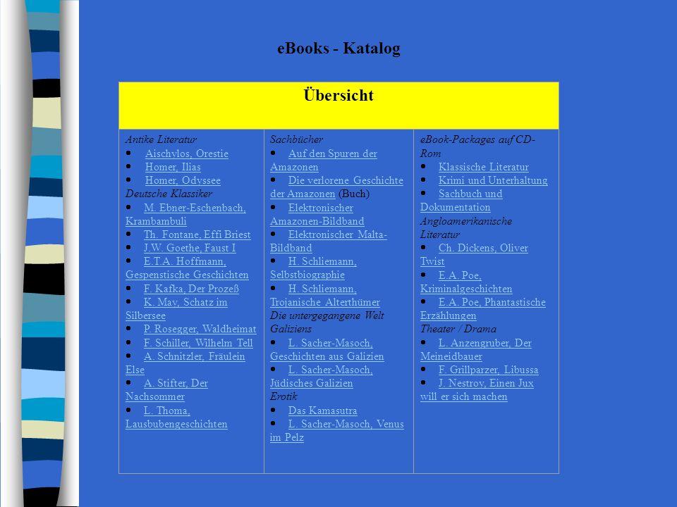 eBooks - Katalog Übersicht Antike Literatur Aischylos, Orestie Homer, Ilias Homer, Odyssee Deutsche Klassiker M.