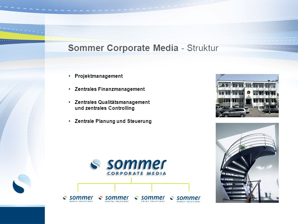 Sommer Corporate Media - Struktur Projektmanagement Zentrales Finanzmanagement Zentrales Qualitätsmanagement und zentrales Controlling Zentrale Planun