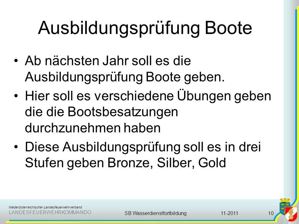 Niederösterreichischer Landesfeuerwehrverband LANDESFEUERWEHRKOMMANDO Ausbildungsprüfung Boote Ab nächsten Jahr soll es die Ausbildungsprüfung Boote g
