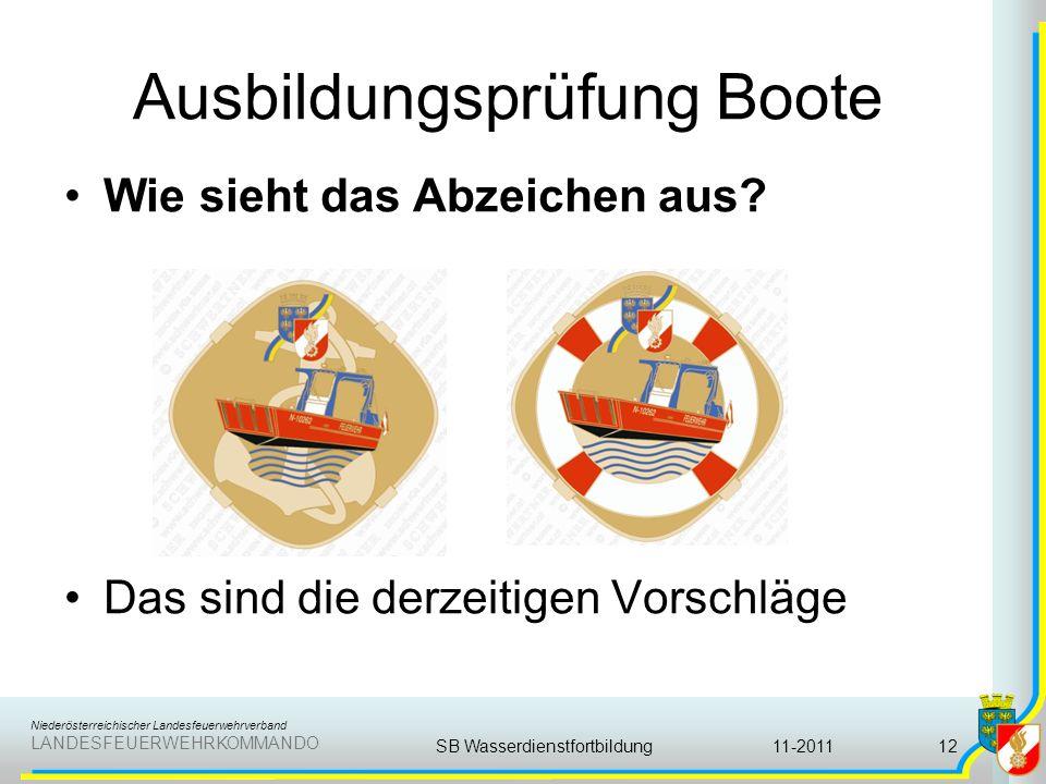 Niederösterreichischer Landesfeuerwehrverband LANDESFEUERWEHRKOMMANDO Ausbildungsprüfung Boote 11-2011SB Wasserdienstfortbildung12 Wie sieht das Abzei