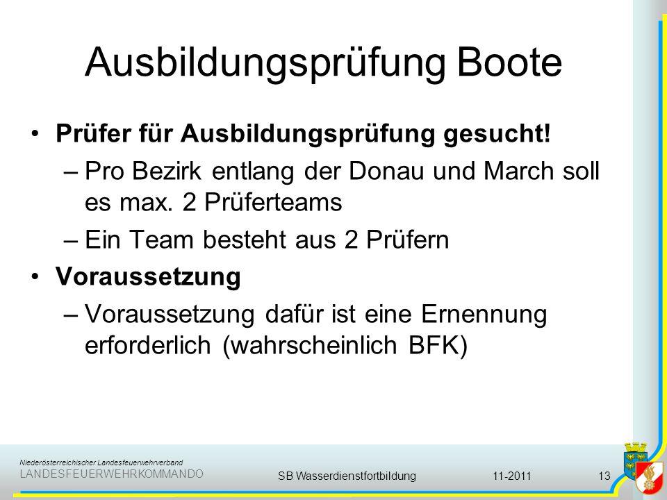 Niederösterreichischer Landesfeuerwehrverband LANDESFEUERWEHRKOMMANDO Ausbildungsprüfung Boote Prüfer für Ausbildungsprüfung gesucht! –Pro Bezirk entl