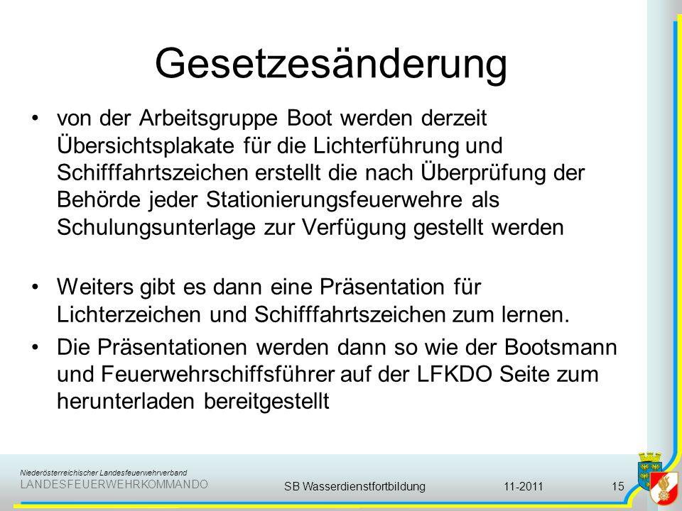 Niederösterreichischer Landesfeuerwehrverband LANDESFEUERWEHRKOMMANDO Gesetzesänderung von der Arbeitsgruppe Boot werden derzeit Übersichtsplakate für