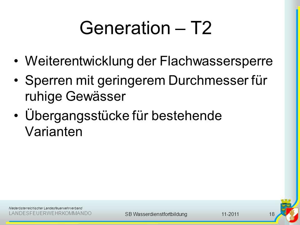 Niederösterreichischer Landesfeuerwehrverband LANDESFEUERWEHRKOMMANDO Generation – T2 Weiterentwicklung der Flachwassersperre Sperren mit geringerem D