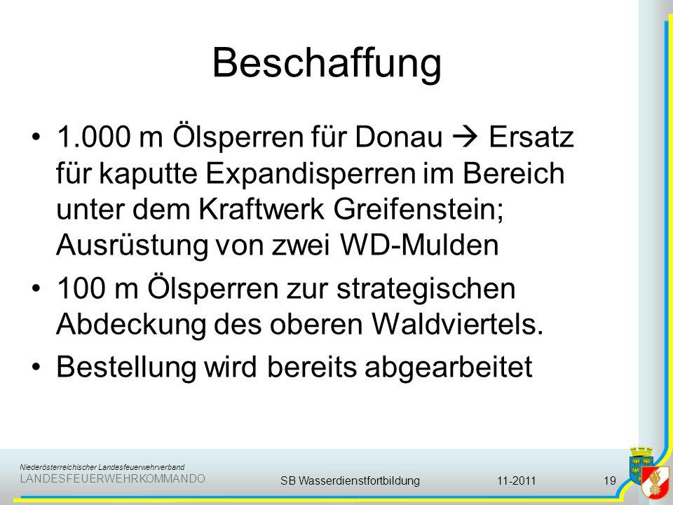 Niederösterreichischer Landesfeuerwehrverband LANDESFEUERWEHRKOMMANDO Beschaffung 1.000 m Ölsperren für Donau Ersatz für kaputte Expandisperren im Ber