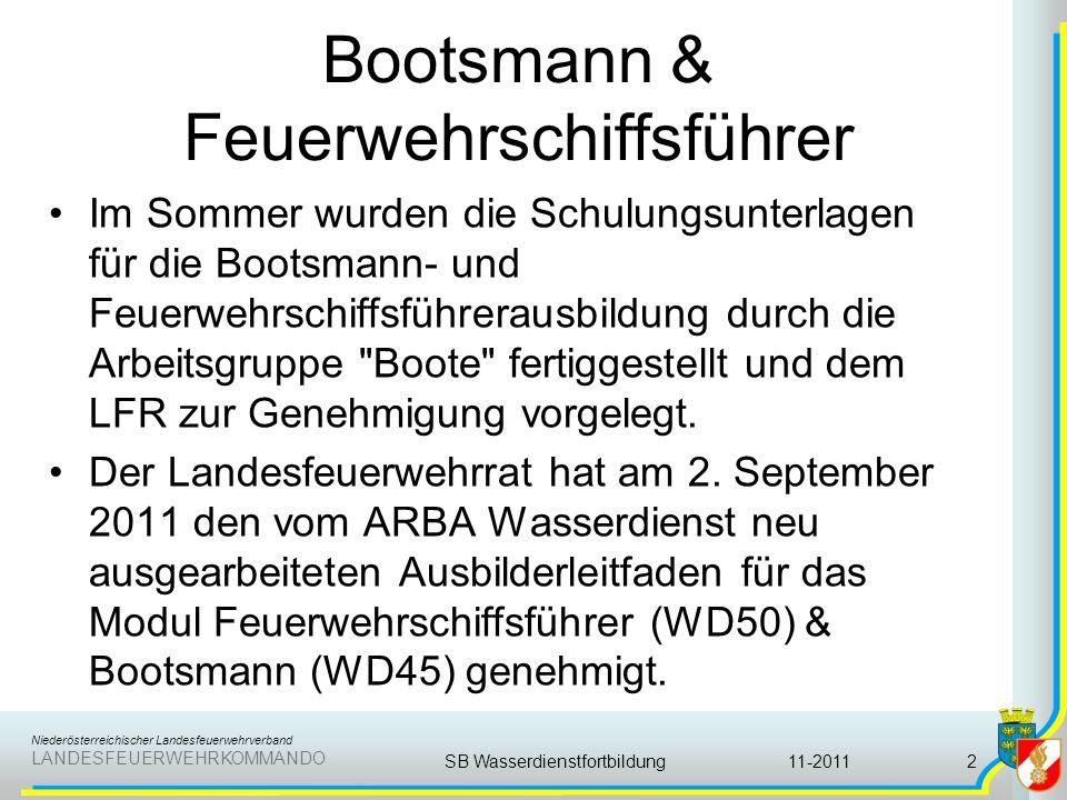 Niederösterreichischer Landesfeuerwehrverband LANDESFEUERWEHRKOMMANDO Bootsmann & Feuerwehrschiffsführer Im Sommer wurden die Schulungsunterlagen für