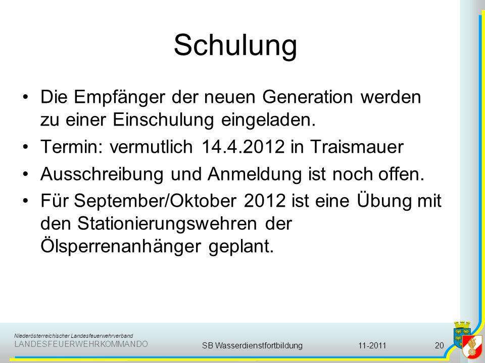 Niederösterreichischer Landesfeuerwehrverband LANDESFEUERWEHRKOMMANDO Schulung Die Empfänger der neuen Generation werden zu einer Einschulung eingelad