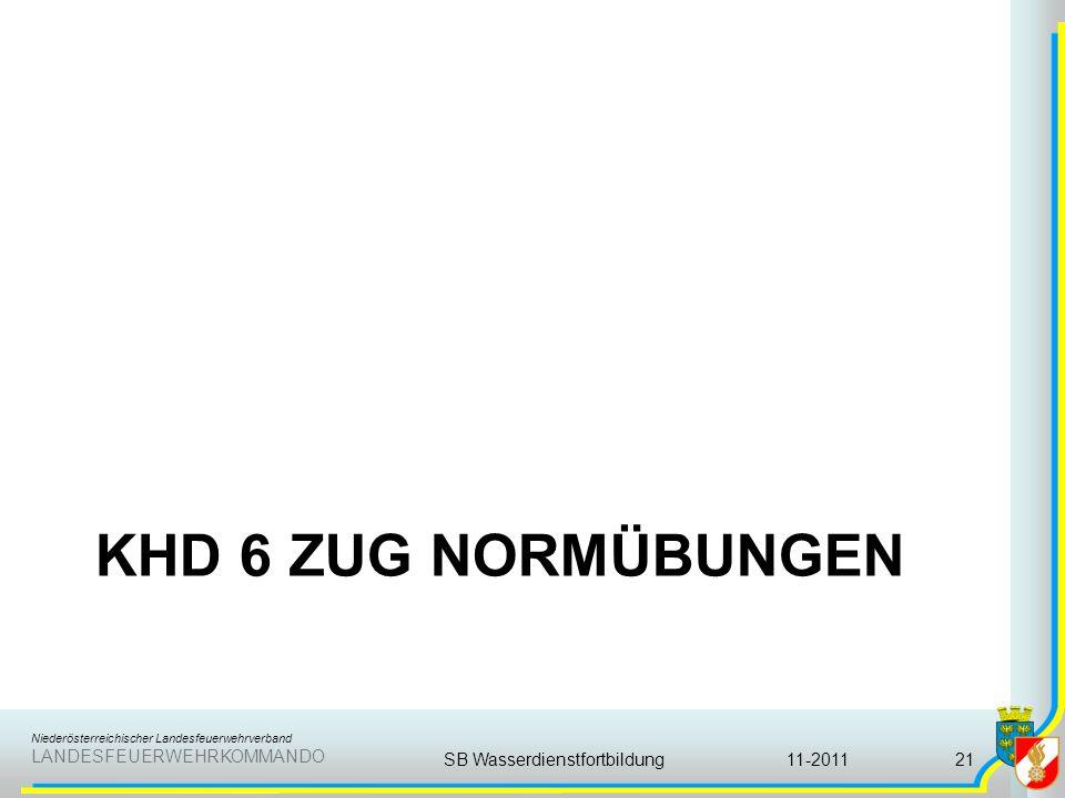 Niederösterreichischer Landesfeuerwehrverband LANDESFEUERWEHRKOMMANDO KHD 6 ZUG NORMÜBUNGEN 11-2011SB Wasserdienstfortbildung21