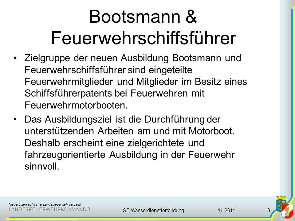 Niederösterreichischer Landesfeuerwehrverband LANDESFEUERWEHRKOMMANDO Bootsmann & Feuerwehrschiffsführer Zielgruppe der neuen Ausbildung Bootsmann und