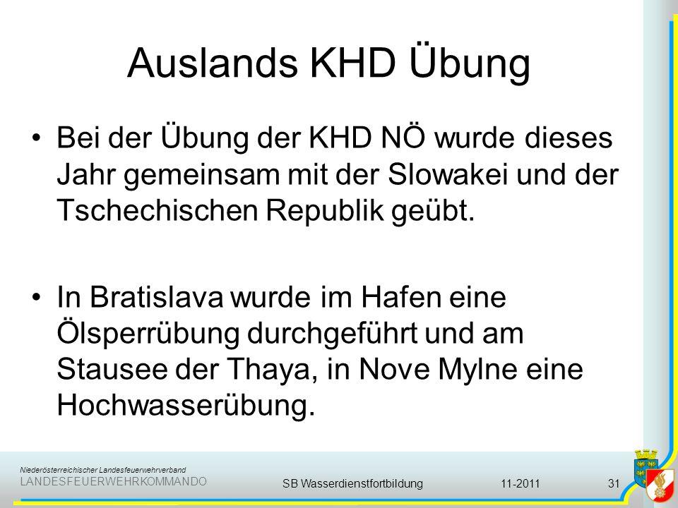 Niederösterreichischer Landesfeuerwehrverband LANDESFEUERWEHRKOMMANDO Auslands KHD Übung Bei der Übung der KHD NÖ wurde dieses Jahr gemeinsam mit der