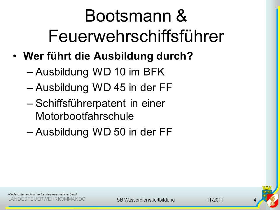 Niederösterreichischer Landesfeuerwehrverband LANDESFEUERWEHRKOMMANDO Bootsmann & Feuerwehrschiffsführer Wer führt die Ausbildung durch? –Ausbildung W