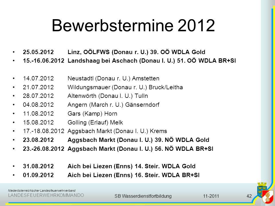 Niederösterreichischer Landesfeuerwehrverband LANDESFEUERWEHRKOMMANDO Bewerbstermine 2012 25.05.2012 Linz, OÖLFWS (Donau r. U.) 39. OÖ WDLA Gold 15.-1