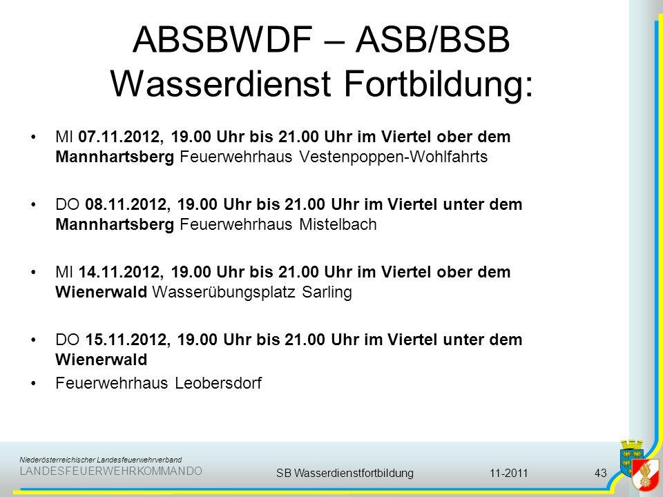 Niederösterreichischer Landesfeuerwehrverband LANDESFEUERWEHRKOMMANDO ABSBWDF – ASB/BSB Wasserdienst Fortbildung: MI 07.11.2012, 19.00 Uhr bis 21.00 U