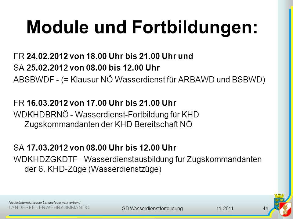 Niederösterreichischer Landesfeuerwehrverband LANDESFEUERWEHRKOMMANDO Module und Fortbildungen: FR 24.02.2012 von 18.00 Uhr bis 21.00 Uhr und SA 25.02