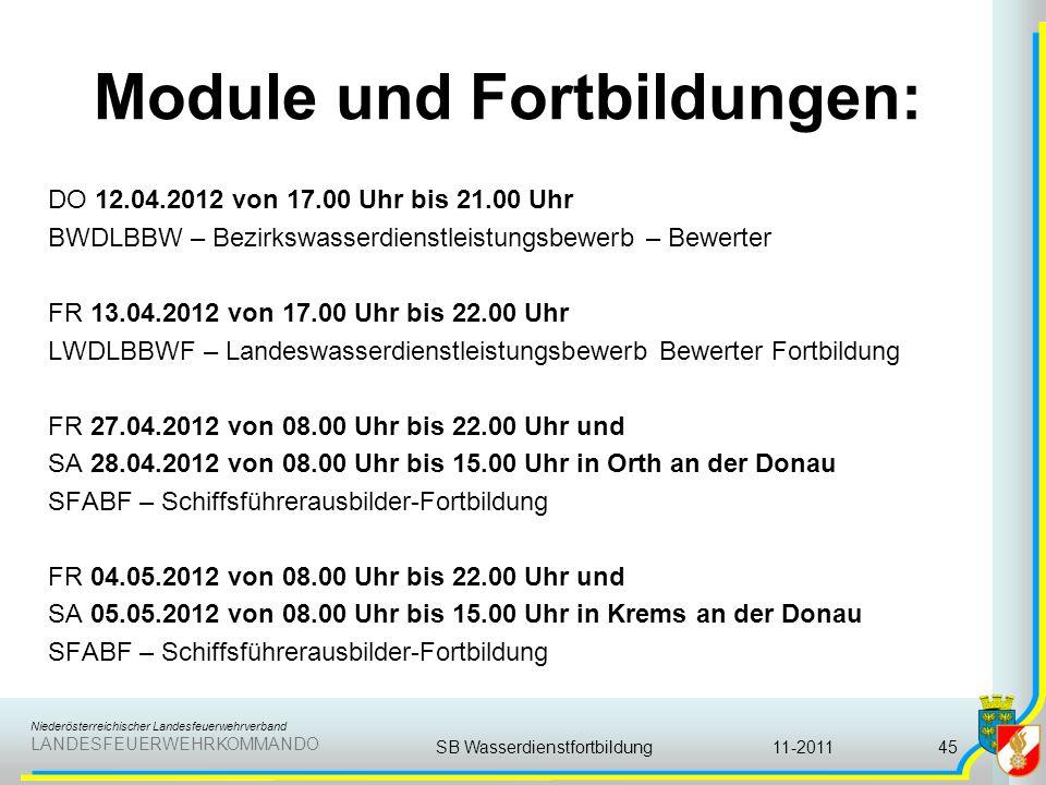 Niederösterreichischer Landesfeuerwehrverband LANDESFEUERWEHRKOMMANDO Module und Fortbildungen: DO 12.04.2012 von 17.00 Uhr bis 21.00 Uhr BWDLBBW – Be