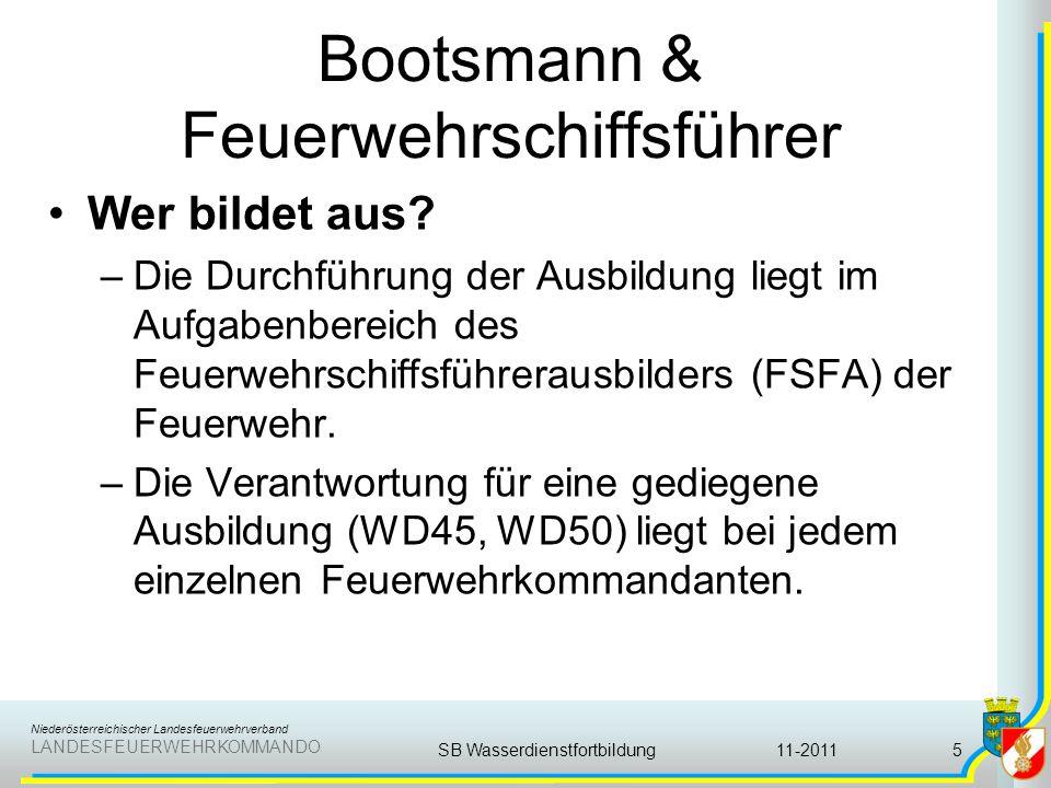 Niederösterreichischer Landesfeuerwehrverband LANDESFEUERWEHRKOMMANDO Bootsmann & Feuerwehrschiffsführer Wer bildet aus? –Die Durchführung der Ausbild