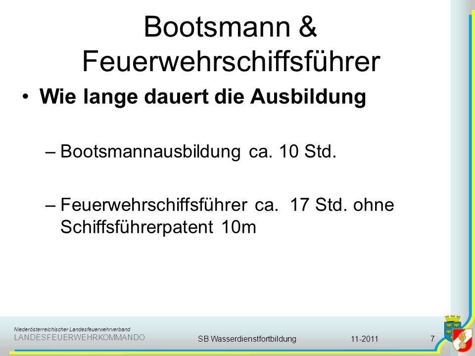 Niederösterreichischer Landesfeuerwehrverband LANDESFEUERWEHRKOMMANDO Bootsmann & Feuerwehrschiffsführer Wie lange dauert die Ausbildung –Bootsmannaus