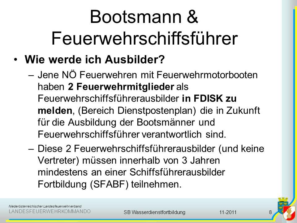 Niederösterreichischer Landesfeuerwehrverband LANDESFEUERWEHRKOMMANDO Bootsmann & Feuerwehrschiffsführer Die Erfolgskontrolle besteht im Wesentlichen aus der Überprüfung der praktischen Handgriffe auf den eigenen Geräten und Führen des Feuerwehrbootes.