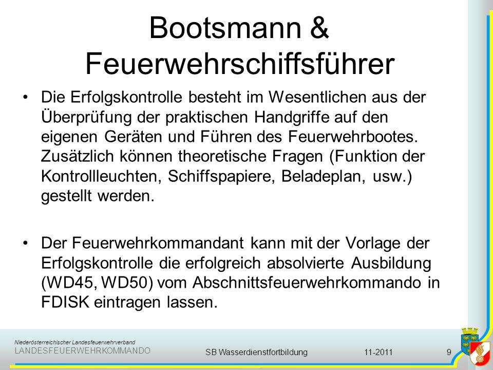 Niederösterreichischer Landesfeuerwehrverband LANDESFEUERWEHRKOMMANDO Bootsmann & Feuerwehrschiffsführer Die Erfolgskontrolle besteht im Wesentlichen