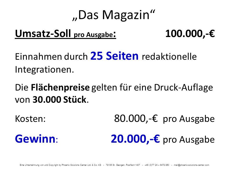 Das Magazin Umsatz-Soll pro Ausgabe :100.000,- Einnahmen durch 25 Seiten redaktionelle Integrationen. Die Flächenpreise gelten für eine Druck-Auflage