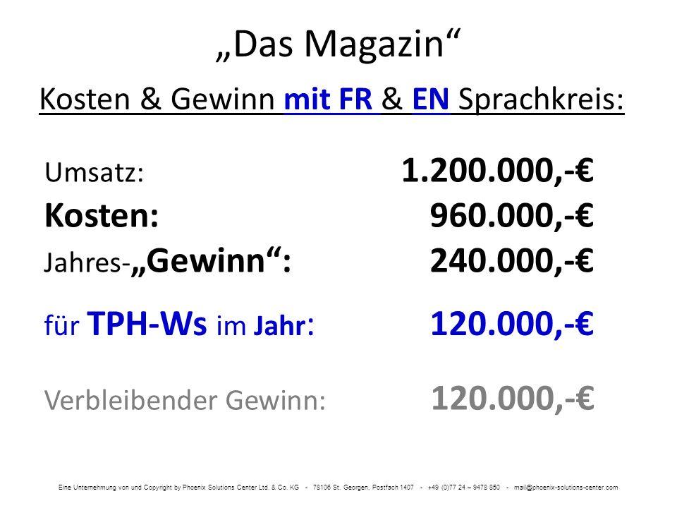 Das Magazin Kosten & Gewinn mit FR & EN Sprachkreis: für TPH-Ws im Jahr : 120.000,- Umsatz: 1.200.000,- Kosten:960.000,- Jahres- Gewinn: 240.000,- Verbleibender Gewinn: 120.000,- Eine Unternehmung von und Copyright by Phoenix Solutions Center Ltd.