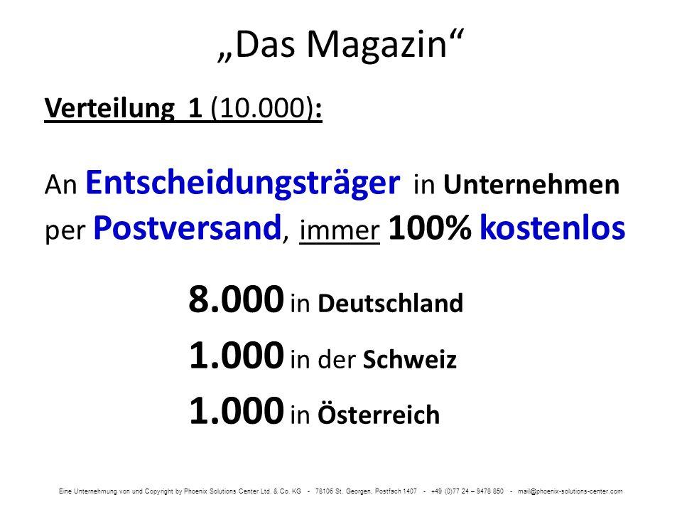 Das Magazin Verteilung 1 (10.000): 8.000 in Deutschland 1.000 in der Schweiz 1.000 in Österreich An Entscheidungsträger in Unternehmen per Postversand