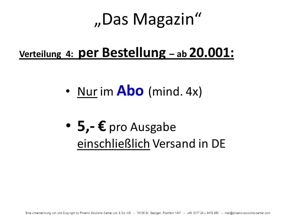 Das Magazin Nur im Abo (mind. 4x) 5,- pro Ausgabe einschließlich Versand in DE Verteilung 4: per Bestellung – ab 20.001: Eine Unternehmung von und Cop