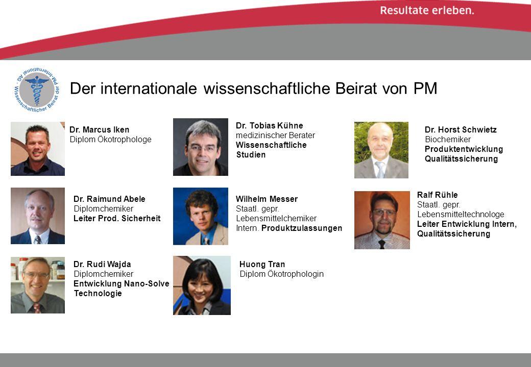 Der internationale wissenschaftliche Beirat von PM Dr. Marcus Iken Diplom Ökotrophologe Dr. Tobias Kühne medizinischer Berater Wissenschaftliche Studi