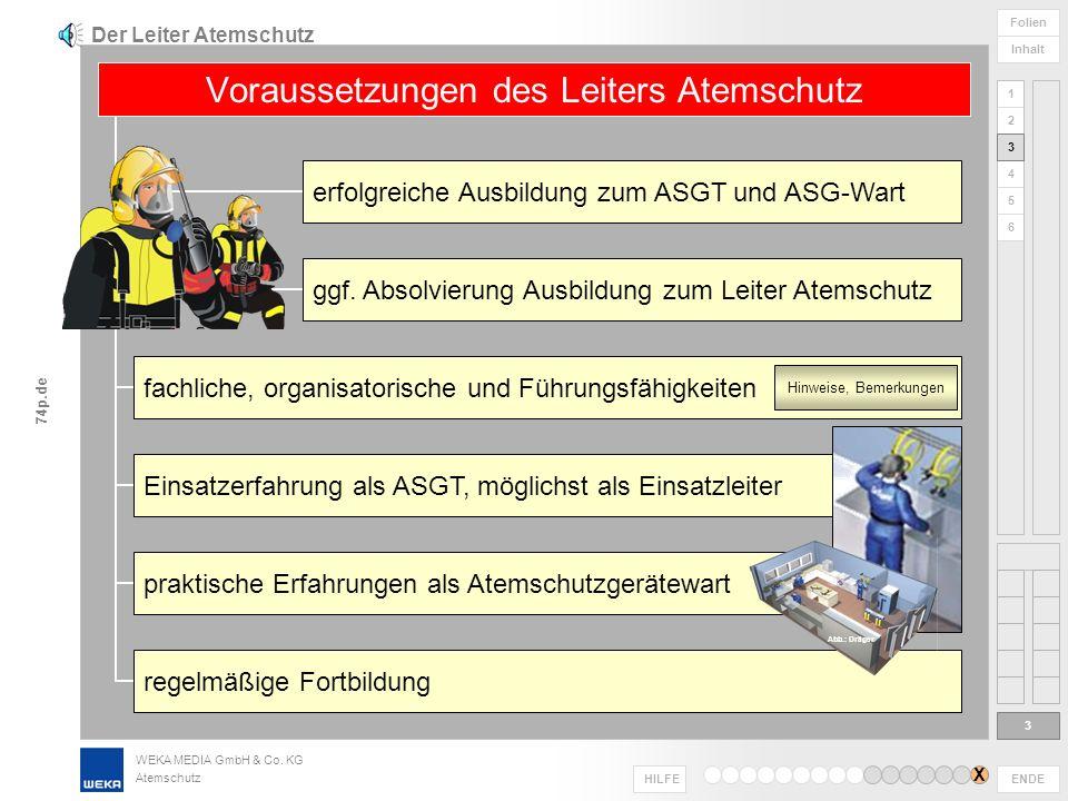 WEKA MEDIA GmbH & Co. KG Atemschutz ENDE HILFE 1 2 3 4 5 6 Folien Inhalt 74p.de Einsatzbereitschaft Atemschutzausrüstung absichern Sicherung der Einsa