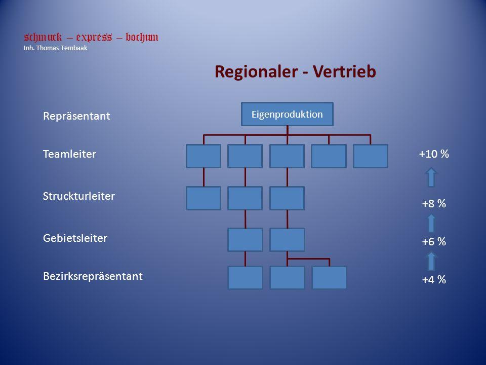 Regionaler - Vertrieb Repräsentant Teamleiter Struckturleiter Gebietsleiter Bezirksrepräsentant +4 % +6 % +8 % +10 % Eigenproduktion schmuck – express – bochum Inh.