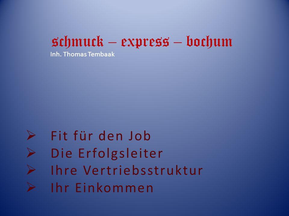 Fit für den Job Die Erfolgsleiter Ihre Vertriebsstruktur Ihr Einkommen schmuck – express – bochum Inh.
