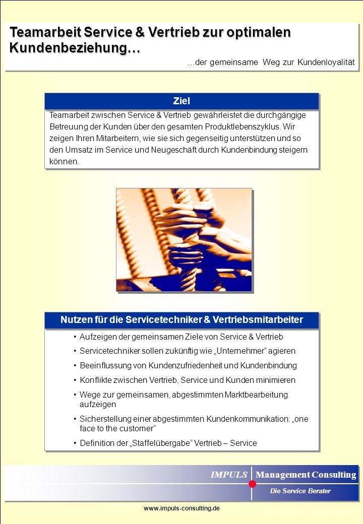 www.impuls-consulting.de Wir schaffen das Bewusstsein für die Bedeutung wirtschaftlicher Handlungsweisen zur nachhaltigen Umsatz- und Ertragssicherung/- steigerung und beantworten die Frage, welchen konkreten Einfluss Servicetechniker auf Kosten und Umsatz haben.
