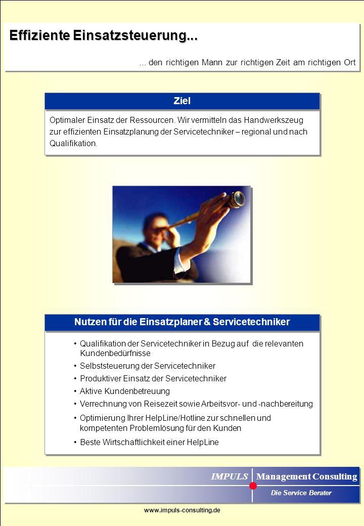 www.impuls-consulting.de Teamarbeit Service & Vertrieb zur optimalen Kundenbeziehung…...der gemeinsame Weg zur Kundenloyalität IMPULS Management Consu