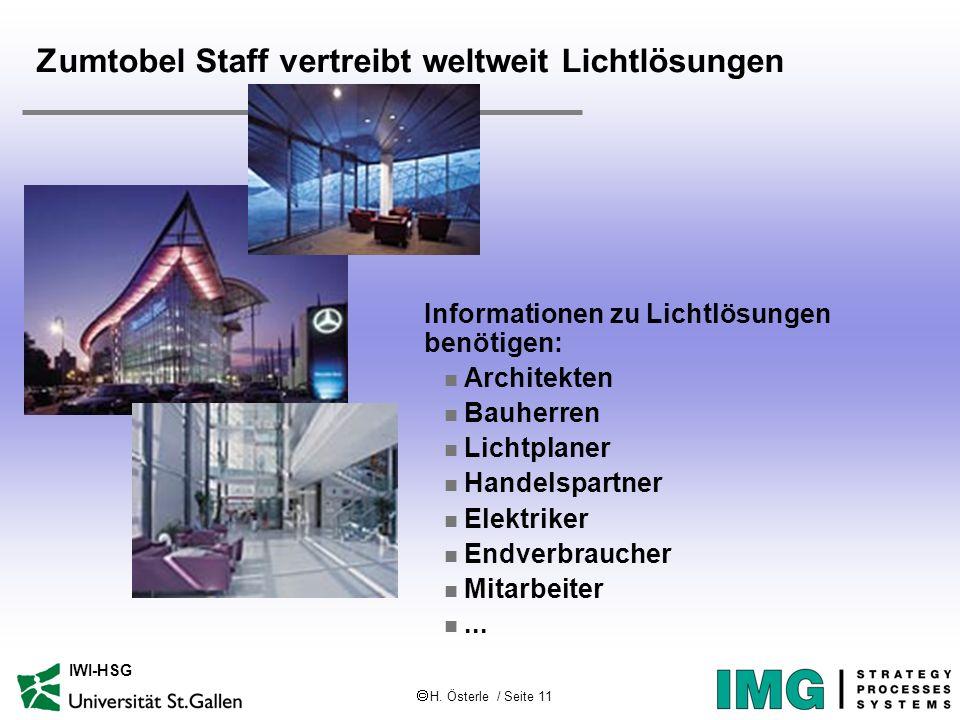 H. Österle / Seite 11 IWI-HSG Zumtobel Staff vertreibt weltweit Lichtlösungen Informationen zu Lichtlösungen benötigen: n Architekten n Bauherren n Li