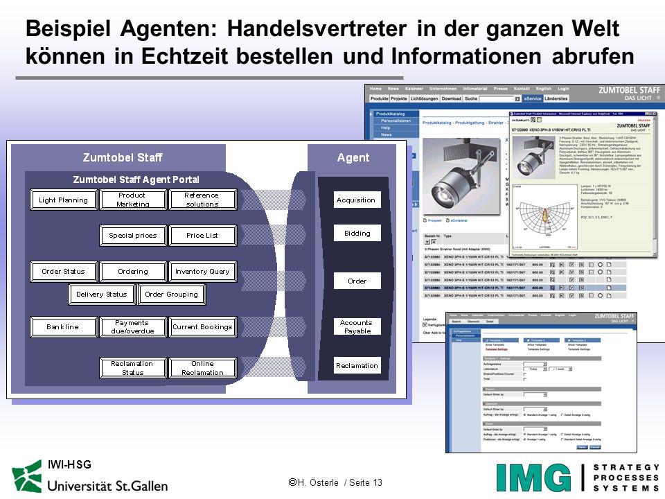 H. Österle / Seite 13 IWI-HSG Beispiel Agenten: Handelsvertreter in der ganzen Welt können in Echtzeit bestellen und Informationen abrufen