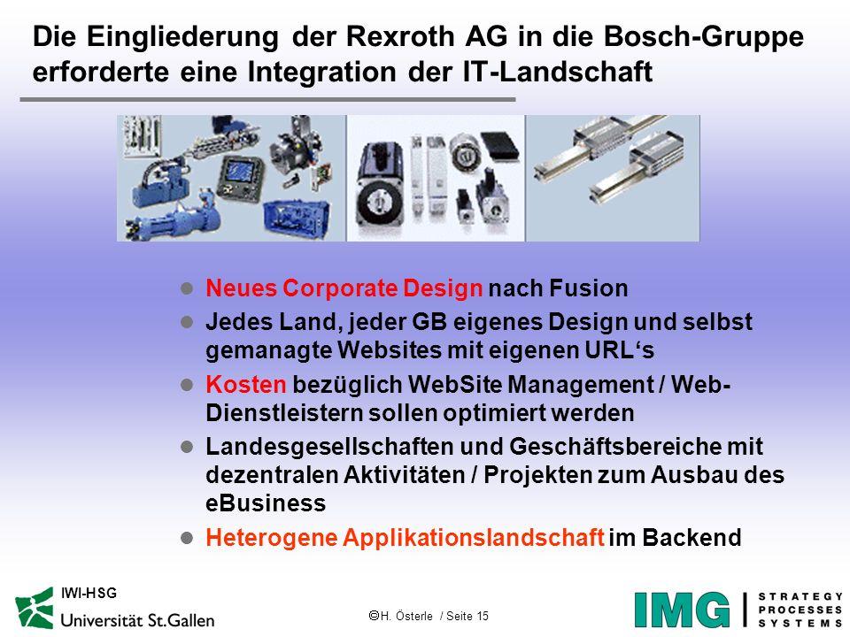 H. Österle / Seite 15 IWI-HSG Die Eingliederung der Rexroth AG in die Bosch-Gruppe erforderte eine Integration der IT-Landschaft l Neues Corporate Des