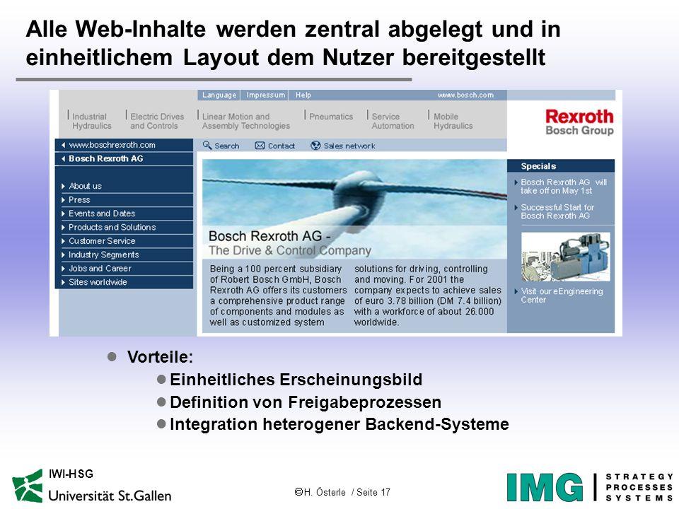 H. Österle / Seite 17 IWI-HSG Alle Web-Inhalte werden zentral abgelegt und in einheitlichem Layout dem Nutzer bereitgestellt l Vorteile: l Einheitlich