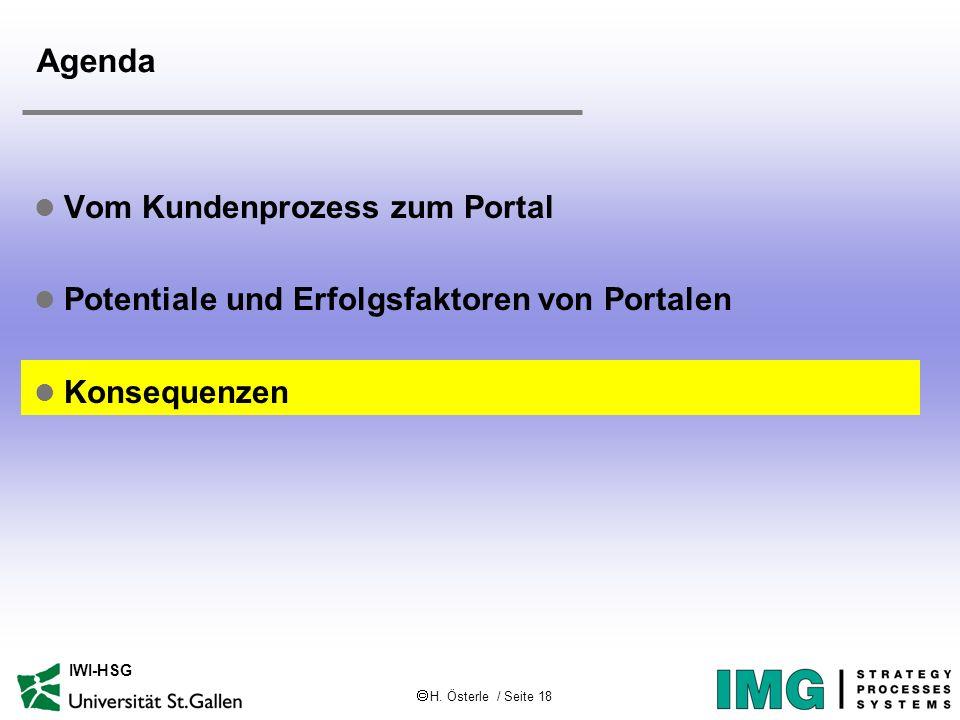 H. Österle / Seite 18 IWI-HSG Agenda l Vom Kundenprozess zum Portal l Potentiale und Erfolgsfaktoren von Portalen l Konsequenzen