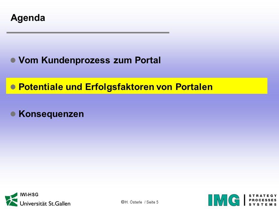 H. Österle / Seite 5 IWI-HSG Agenda l Vom Kundenprozess zum Portal l Potentiale und Erfolgsfaktoren von Portalen l Konsequenzen