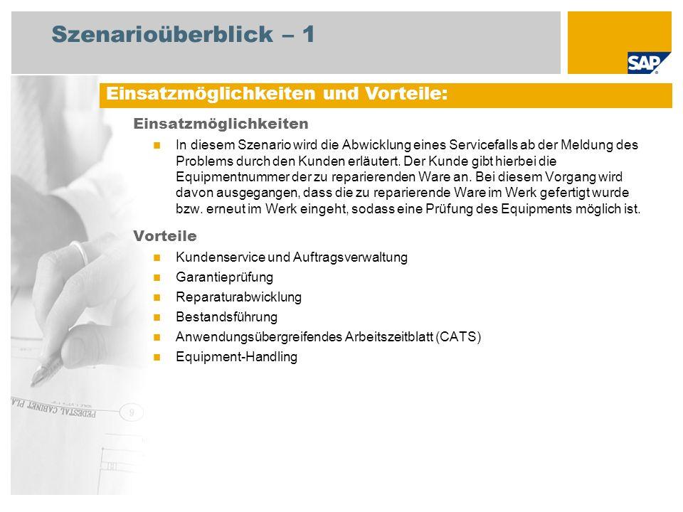 Szenarioüberblick – 3 Erforderlich Enhancement package 5 for SAP ERP 6.0 An den Abläufen beteiligte Benutzerrollen Dienstleister (Service) Lagermitarbeiter Einkäufer Sachbearbeiter Vertrieb Servicemitarbeiter Erforderliche SAP-Anwendungen: