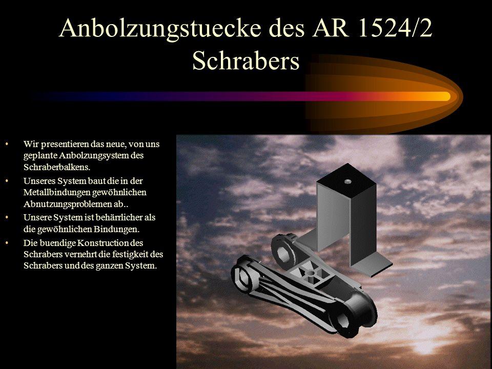 Anbolzungstuecke des AR 1524/2 Schrabers Wir presentieren das neue, von uns geplante Anbolzungsystem des Schraberbalkens.