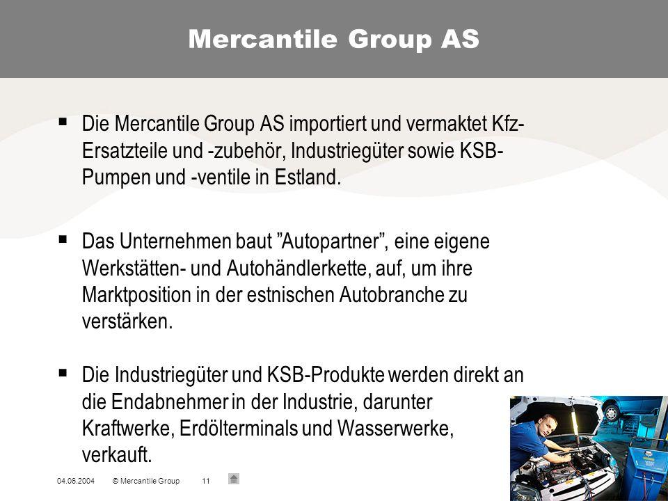 04.06.2004© Mercantile Group11 Mercantile Group AS Die Mercantile Group AS importiert und vermaktet Kfz- Ersatzteile und -zubehör, Industriegüter sowie KSB- Pumpen und -ventile in Estland.