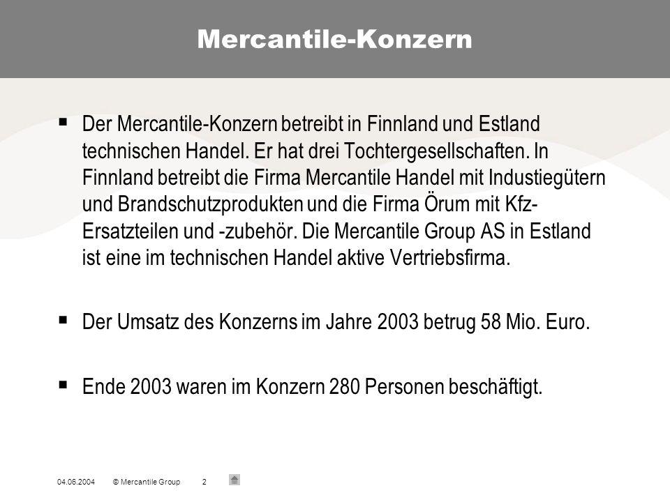 04.06.2004© Mercantile Group2 Mercantile-Konzern Der Mercantile-Konzern betreibt in Finnland und Estland technischen Handel.