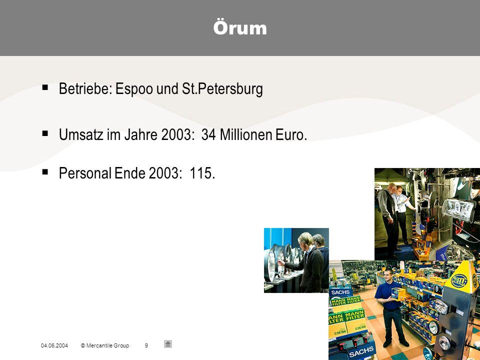 04.06.2004© Mercantile Group9 Örum Betriebe: Espoo und St.Petersburg Umsatz im Jahre 2003: 34 Millionen Euro.
